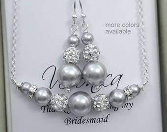 Light Grey Pearl Necklace and Earrings Set, Light Grey Pearl Jewelry, Bridesmaid Gift, Wedding Jewelry Set, Bridesmaid Necklace