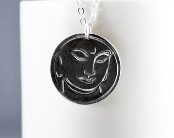 Silver Buddha Necklace Sterling Silver Buddha Pendant Meditation Necklace Yoga Jewelry Reiki Jewelry Buddha Pendant Mindfulness Jewelry