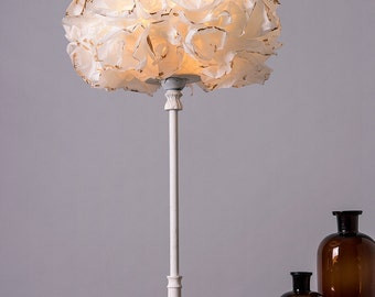 White & Gold Floor Lamp, Paper Lamp shade, Table /Desk Light, Bedside Nightstand Golden Lamp Light, Romantic Bedroom Lighting