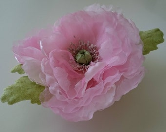 Hair silk flower poppy brooch