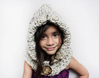Girl's chunky hooded cowl, child's scoodie, girls oatmeal hooded scarf, gifts for her, accessories, fall, winter and spring fashion