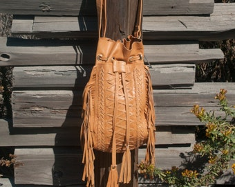 Camel Leather Bag * Crossbody Leather Bag * Shoulder Bag * Fringe Bag * Fringed Leather Purse * Handmade Bag * Boho Purse * BP017