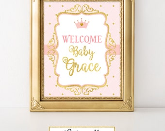 Printable Princess Pink and Gold-A 006 Welcome Baby Party Sign Wall Art, Party Decoration, Baby Shower, Birthday