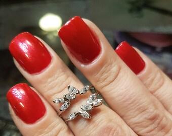 14k White Gold Marquise Diamond Ring Jacket 1.4 Carat