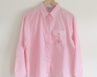 Vintage 1990s bright pink and white pin stripe shirt candy stripes retro oversize slouchy boyfriend 90s size 12 womens stripey pastel blouse