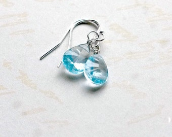 AAA Blue Topaz Earrings Gemstone Earrings Blue Earrings
