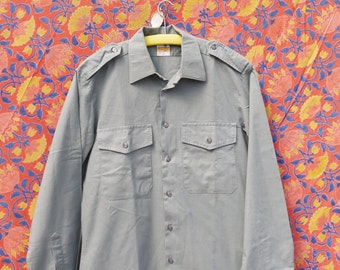 1980's shirt Metzger Vintage military Swiss Army shirt grey long sleeve military shirt long shirt medium /tag 5/