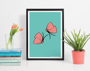Butterfly Art Print-A4 Butterfly Wall Art-Gift for her/Women-Teen Room Art-Nursery Pictures-New Baby Girl Wall Art-Wedding Gift-Illustration