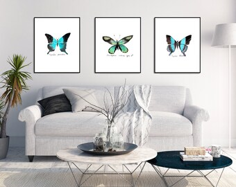 Butterfly Art Print Set of 3 Watercolor Butterfly Print Butterfly Wall Art Butterfly Decor Butterfly Painting Butterfly Artwork