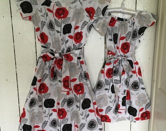 Mother Daughter or Sisters Matching Dresses in cotton red gray white black poppies plus sizes mommy and me dresses baby coordinating outfits