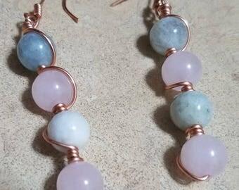 Aquamarine x Rose Quartz Earrings