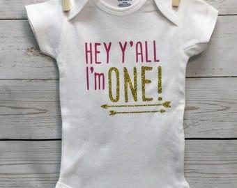 1st Birthday Onesie, Birthday Girl, Birthday Onesie, 1st Birthday Girl Outfit, 1st Birthday Girl Onesie, Hey Yall Onesie, 1st Birthday Party