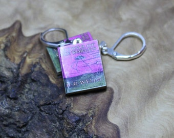Hand made, Dolls House, Miniature Book Earrings *With real pages!* H G Wells, War Of The Worlds