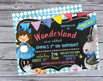 Alice in Wonderland Birthday Invitation, Alice in Wonderland Birthday Invitations, Alice in Wonderland Party, Alice Birthday, Alice Party,