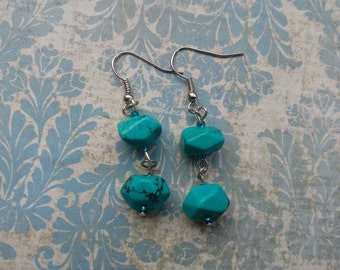 Chunky Howlite Drop Earrings: Silver Plated, Genuine Howlite Stone Beads, Teal Long Dangling Earrings, Healing Crystals, Faux Turquoise