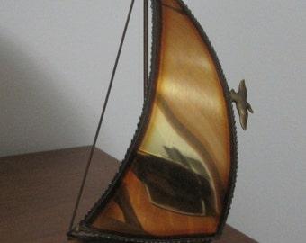 DeMott Brass Sailboat Sculpture, Onyx Base, Mid-century Modern, Vintage