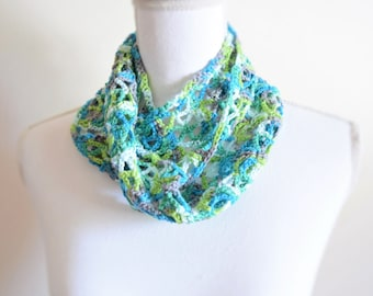 Crochet infinity lightweight lacy scarf / multi color scarf / double loop summer scarf