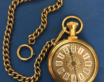 """Westclox """"Country Gentleman"""" Pocket Watch with 12"""" Gold Tone Watch Fob Chain, c. 1974. Like New and Runs Perfect."""