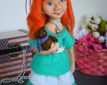Needle felted doll OOAK doll Red-haired girl Author's doll Art doll Collectible Wool felt Felted little girl Felted sculpture Eco toy