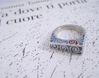 """Silver asymmetry and enameled engraving ring """"Vortice colorato"""""""