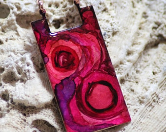 Shades of Hot Pink Hand Painted Alcohol Ink Vintage Copper Necklace