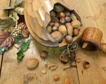 Vintage Handmade Wooden Nut Store - Shaped like a Huge Walnut! Wacky Table Ornament (stock#6441)