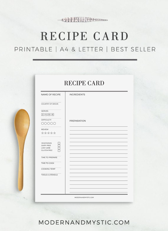 recipe card printable recipe cards recipe sheet printable. Black Bedroom Furniture Sets. Home Design Ideas