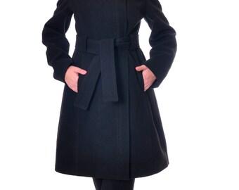 Black Wool Coat, Winter Coat Women, Womens Wool Coat, Warm Coat, Winter Jacket, Handmade Coat, Elegant Coat, Wool Jacket, Danelys D14.07.03