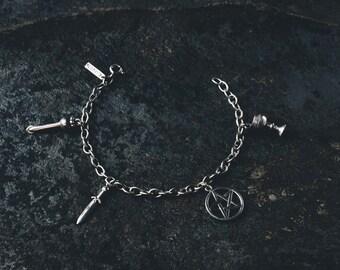 Spirit Charm Bracelet handmade, sterling silver 925, witch, witchcraft, wicca, magic, pentacle, tarot, pentagram, mystic, spiritual, psychic