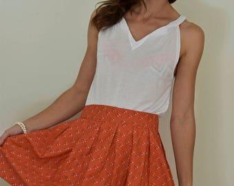 Orange Skirt, Flower Skirt, High Waisted Skirt, Pleated Skirt, Print Skirt, Unique Skirt, Usual Skirt, Geometric Skirt