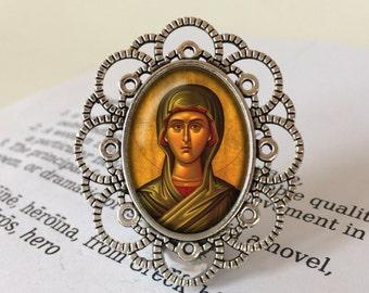 Mary Magdalene Brooch - St Mary Magdalene Jewelry, Icon Brooch, Saint Mary Magdalene Gift, Mary Magdalene Jewellery, Christian Brooch