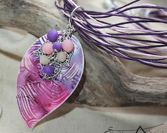 Polymer clay jewelry Pink Purple Summer Polymer clay pendant Vitamin