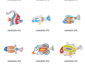 Native-Fish ( 10 Machine Embroidery Designs from ATW )