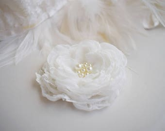 Pearl Bridal Flower Clip Lace Ivory Wedding Flower Hair Clip, Pearl Flower Hair Pin, Bulk Chiffon Flowers Hair Accessories