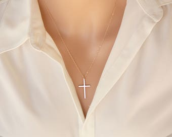 Cross necklace- 14K gold filled, long large skinny cross necklace simple, mothers day gift ideas for her mom daughter sister wife