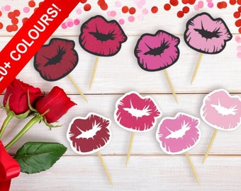 Lips Cupcake Toppers, Bachelorette Party, Bridal Shower, Kiss The Miss Goodbye, Flirty 30, Makeup Theme, Food Picks, Pucker Up (Set of 12)