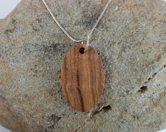 Oval Wood Pendant, Plum, Wood Necklace