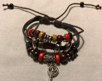 Boho Bracelet Set of 3, Leather bracelet, bohemian bracelet, leather boho bracelet, beaded jewellery, boho jewellery, gifts, leather charms