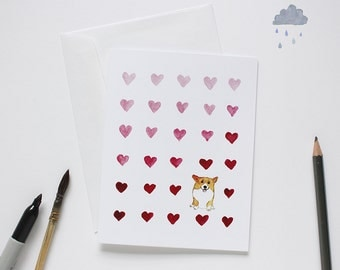 Corgi Valentine's Day card / Corgi card / Corgi illustration / Corgi Mother's Day card