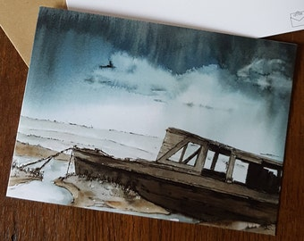 Greeting card. Storm Over the Saltings