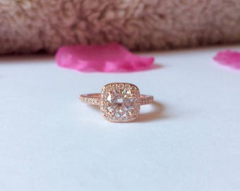 SALES -25%!!princess halo engagement ring rose gold , pink gold  cubic zirconia , engagement ring , cubic zirconia ring
