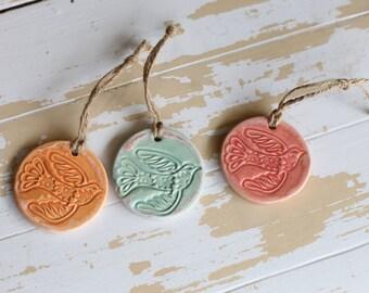 Dove Pottery Ornament/Bird Ornament/Handmade Bird Pottery/Handmade Pottery Ornament/Pottery Christmas Decor/Bird Tree Ornament/Peace Dove