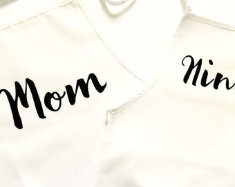 Mother Daughter Father Son matching adult child apron, personalized custom gift, chef cook foodie, dinner dining food prep, hosting, baker