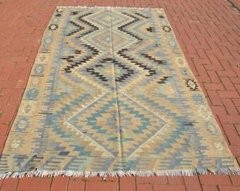Turkish Anatolian Kilim Rug, Boho Kilim Rug, Bohemian Woven Wool Kilim Rug
