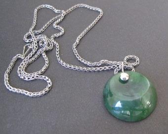 Jade Pendant. Siberian Nephrite. Baikal Jade Jewelry 1970s. Vintage Green Gemstone Necklace. Round Worry Stone. Mid Century. Abstract.