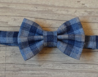 Baby boy bow tie Navy blue checkered bow tie Birthday bow tie Wedding bow tie Toddler bow tie Baptism Page boy bow tie