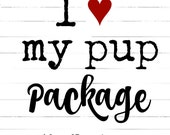 I LoVe My Pup PACKAGE!!  DOG COLLAR Package!! Cool Dog Collars, Matching Owners Bracelet, Bow & Key Fob, Dog Collars for Boys or Girls