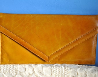 Vintage burnt orange leather clutch, 80s leather clutch, evening leather bag