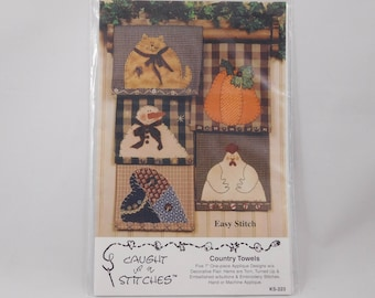 Country Towels Sewing Pattern, 7 inch Appliques, Chicken, Pumpkin, Cat, Snowman, Heart