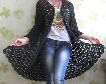 Crochet cardigan, cardigan, black cardigan, crochet cardigan, crochet sweaters , clothing office , summer cardigan , summer clothing